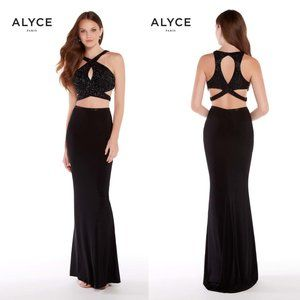 NWT ALYCE PARIS Black Party Sexy Gown 2 pc SET